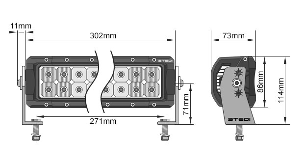STEDI ST4K 12 Inch 20 LED LED Light Bar Dimensions