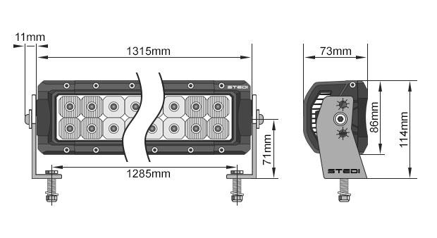 STEDI ST4K 52 Inch 100 LED LED Light Bar Dimensions