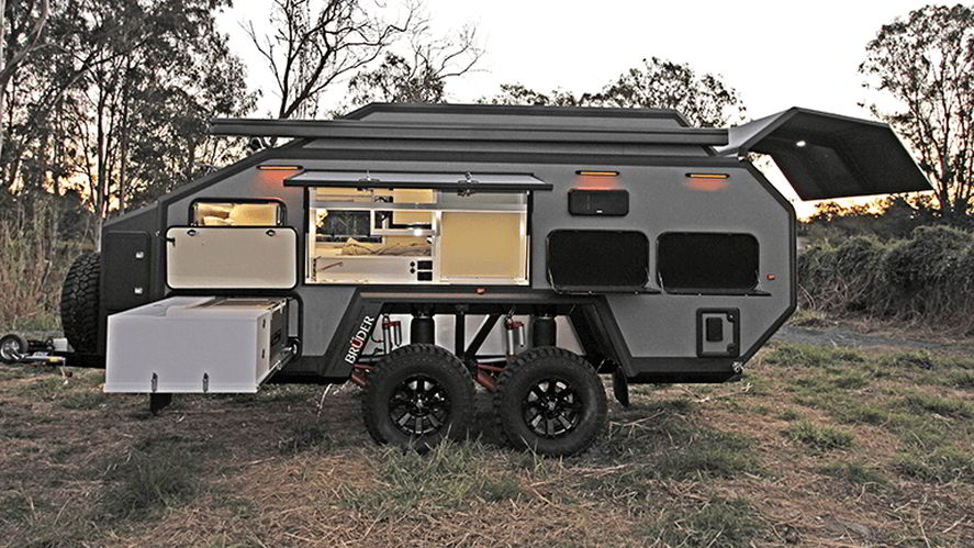 camper trailer kitchen pull out