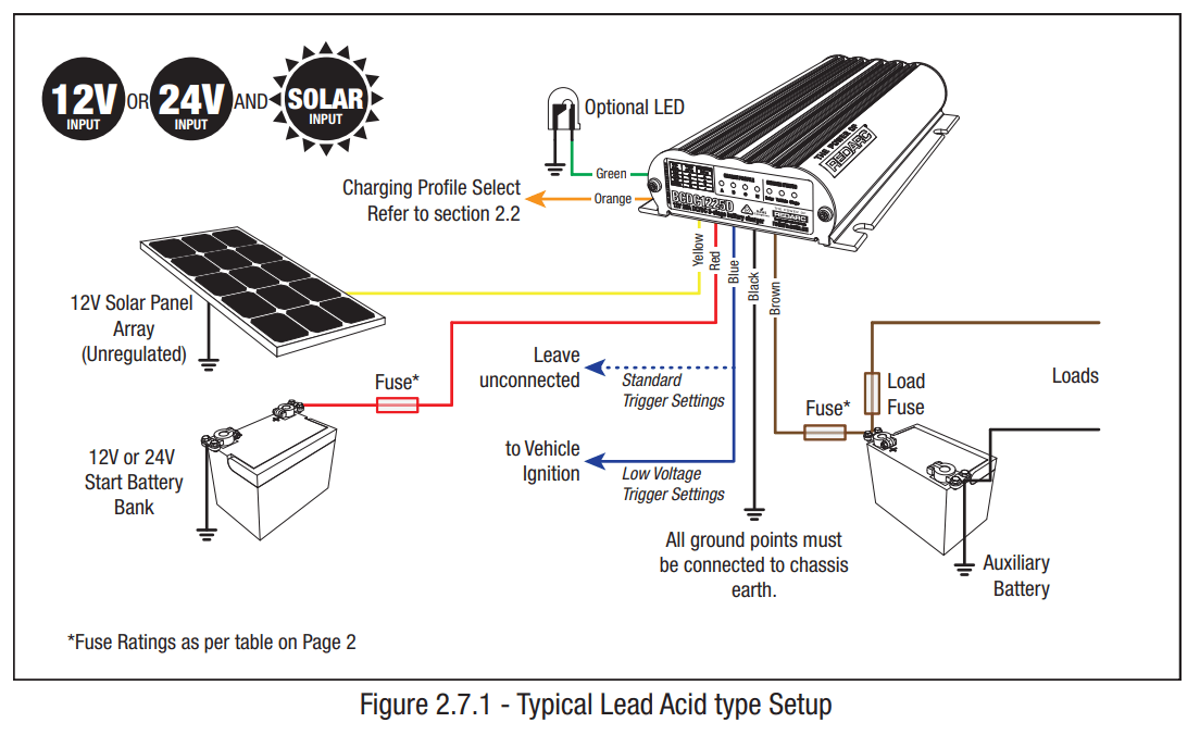 REDARC BCDC1225D Wiring Diagram Lead Acid Battery